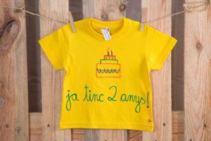 Samarreta aniversari groc màniga curta