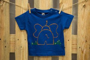 Samarreta elefant blau màniga curta